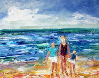 Custom Original Oil Painting Commission - Beach Memories - impressionistic fine art by Karen Tarlton