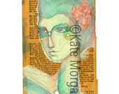 8x10 Mixed Media Portrait on Antique Bible Page Fine Art Print