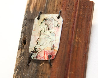 Classical Mixed Media Red Image Transfer Portrait Profile on Rustic Salvaged Wood Piece