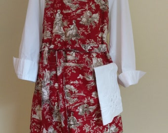 Apron, Red Toile