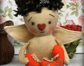 Primitive Folk Art Valentine  DoLL VALENTINO  Cupid  w/ hearts ornament Cute OOAK Romantic gift Angel