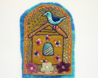 Blue Bird -  Whimsical Brooch - Embroidered Pin - Floral Broach
