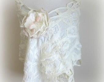 Silk Bridal Wrap - Wedding Shawl - White Silk Scarf - Shoulder Coverup - Australia