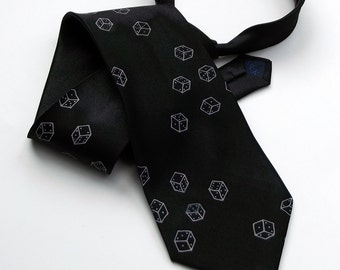 Screen Printed Tie - Premium Quality Microfiber Tie - Dice Tie - Gift Wrapped - Choose color and quantity