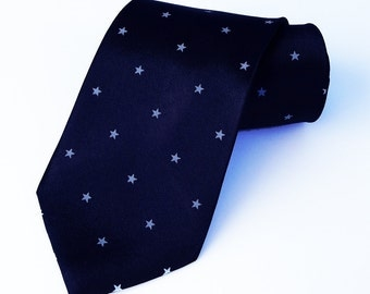 Screen Printed Tie - Men's Necktie - Stars Tie - Premium Quality Microber Tie - Gift Wrapped - Choose color and quantity