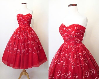Sizzling  1950's Lipstick Red Strapless Cocktail Party Prom Dress with Dramatic Atomic Silver Swirls  VLV Rockabilly Vlv Pinup Size-Small