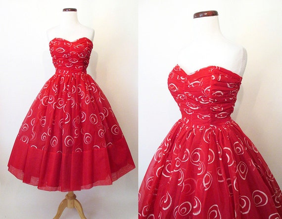 Dazzling 1950's Lipstick Red Strapless Cocktail Party Prom Dress with Dramatic Atomic Silver Swirls  VLV Rockabilly Vlv Pinup Size-Small