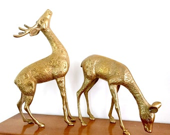 Large Brass Deer Set, Heavy Brass Stag and Doe, Vintage Brass Deer Sculptures, Large Solid Brass Deer Figures, Brass Deer Holiday Decor