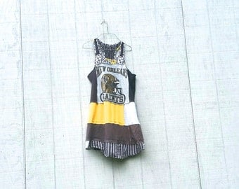 Football Upcycled Fall Tunics funky wearable Art beach knit recycled tunic plus size clothing by CreoleSha