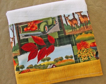 AUTUMN FALL Flour Sack Towel - Harvest Scene Kitchen Dish Towel - Lint Free Tea Towels - Fabric Trimmed Towel - Embellished Towel