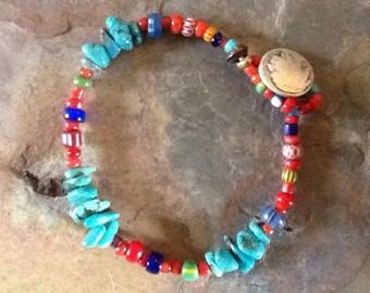Trade Bead Bracelet, White Heart Bracelet, African Trade Bead Bracelet, Tribal Bracelet, Colorful Bracelet