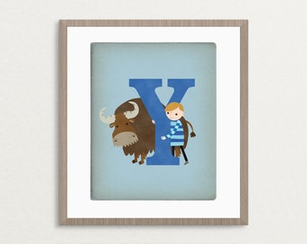 Y is for Yak - Customizable 8x10 Alphabet Art Print