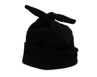 Black Baby Hat - Soft Stretchy Black Newborn Hospital Homecoming Hat - Modern Top Knot Infant Cap - Classic Black Pull-On Stretch Baby Hat