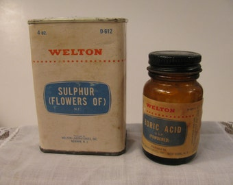 Vintage Apothecary Containers - Welton Laboratories - Mid Century - Drug Store