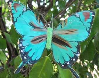 GREEN AQUA Feathers  Butterfly Hair Clip  - Weddings - 5 X 3.5 inches