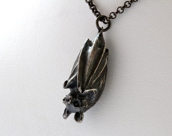 Bat Necklace  made in NYC White Bronze Blackened