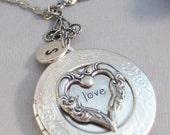 Love Heart,Locket,Silver Locket,Heart Locket,Love Necklace,Love Locket,Valentines Day,Valentine Locket,I love you, locket necklace,heart