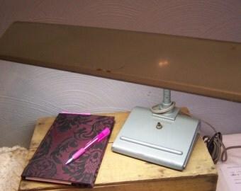 Vintage Art Deco Desk Lamp, All Metal Construction, Woodtone w/Chrome, Large