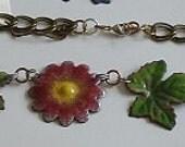 Enameled Flower Leaves Necklace