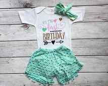 1st Birthday Girl- 1st birthday outfit-Mint and Gold outfit-Blue and Gold- Cake Smash - 1st Birthday Girl Outfit- First Birthday Outfit