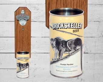 Florida PantherWall Mounted Bottle Opener with Vintage Brickskeller Beer Can Cap Catcher Endangered Species Gift for Guy Mancave Bar