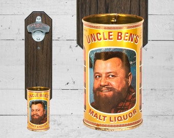 Man Cave Gift for Guy Wall Mounted Bottle Opener with Vintage Uncle Ben's Malt Liquor Beer Can Capcatcher - Christmas Gift for Guy