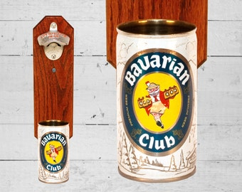 Bavarian Club Wall Mounted Bottle Opener with Vintage Beer Can Cap Catcher - Great housewarming gift