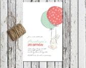BALLOON RIDE, Printable invitation, Bunny party invitations, Balloon Party, Kids Typography Invitation, Cute Invite