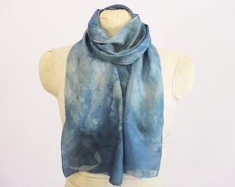 "Indigo Silk Scarf - Blue-Green - Natural Dye EcoFashion- Ready To Ship Gift - HA011605 - Approx. 8""x54"" (20 x 137cm)"