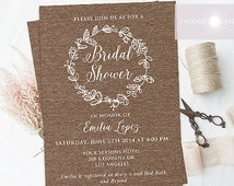 Rustic Bridal Shower Invite, Bridal Brunch, Kraft Invitation, Printable Bridal Shower, Rustic Invite, Wreath Invite, Digital, jadorepaperie