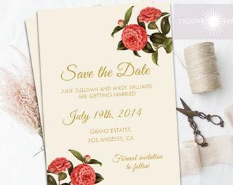 Save The Date Invite, Save-the-Date, Invitation, Printable Invite, Vintage, Floral Invitation, Save The Date Invitation, jadorepaperie