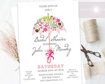 Bridal Shower Invite, Umbrella Invitation Printable, Digital File, Floral Umbrella Invite, Wedding Shower, Couple Shower, jadorepaperie