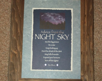 Framed Postcard - Advice From the Night Sky - Your True Nature - Western - Rustic
