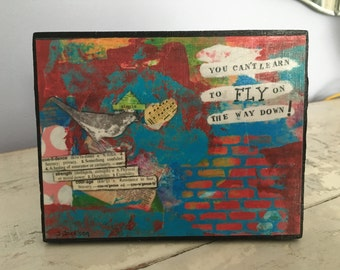 Collage art,mixed media print mounted on wood,You Can't Fly, bird art