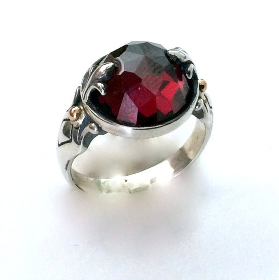 Silver Gold Ring, sterling ring, red garnet ring, stone ring, January birthstone, fleur de lis ring, bohemian jewelry - To be alive R2182