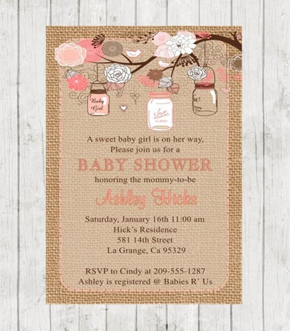 Mason Jars Baby Shower Invitation Pink And Coral Rustic Burlap