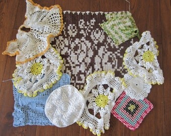 Vintage Doilies Hot Pads Pot Holders Crochet Knitted Variety Lot of 11