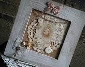 Shabby Chic Frame, Mixed Media Frame, Vintage Religious Card, Doilees, Buttons, Ribbon and Rosary