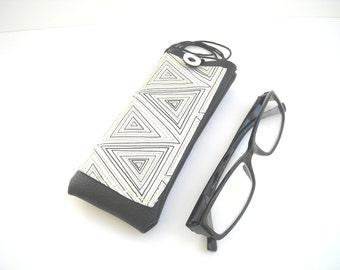 Modern geometric lanyard glasses case with pocket, black faux leather eyeglasses holder, neck eyewear case