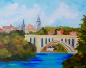 Georgetown Key Bridge Landscape Modern Impressionist Original Oil Landscape Painting by Rebecca Croft