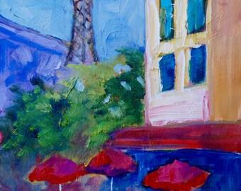 8 x 8 Peak of the Eiffel Tower Impressionist Original Oil Landscape Painting by Rebecca Croft Studios