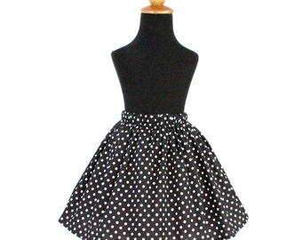 Retro Black and White Polka Dot Girl's Skirt