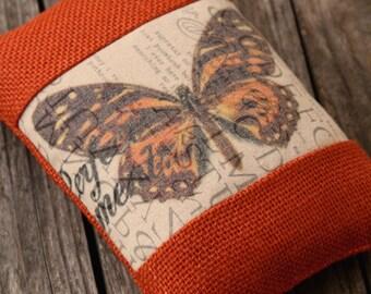 Doorstop, Burlap, Monarch Butterfly, Dark Orange, Typography, Paper Weight, Shelf Sitter, Bowl Filler, Bookend, Decoration, Pin Cushion.