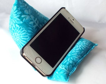 Cell Phone and iPod Pillow Stand in Turquoise Floral