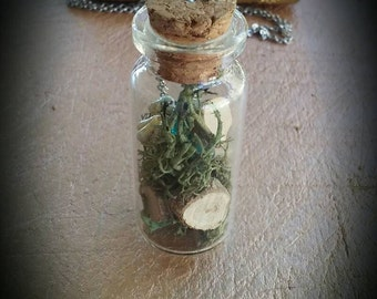 Steampunk, Apothecary Jar, Moss, Wood Chips, Pearls, Necklace