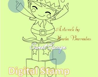 Happy Elf Digital Stamp