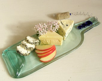 Up-cycled Wine Bottle Cheese and Appetizer Tray - Hostess Gift - Plate - Clear Melted Wine Bottle - Ropyal Blue Glass Accents - Hostess Gift