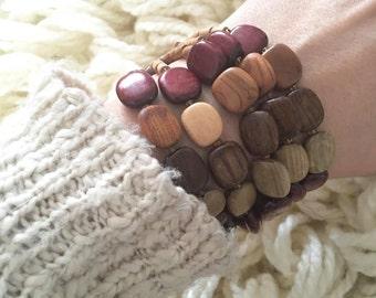 S A L E wood bead / multi strand bracelet
