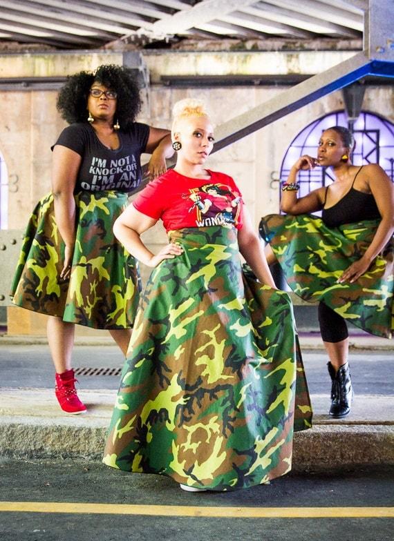 """Camouflage High Waist Maxi Skirt ( 2 - 24 ) 42"""" L"""