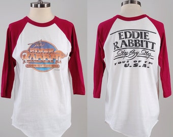 Vintage 80s EDDIE RABBITT concert tour t shirt / 1981 Step by Step Tour of the USA / Vintage country musician t shirt